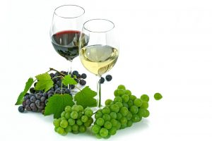 red wine glass next to white wine surrounded by grapes