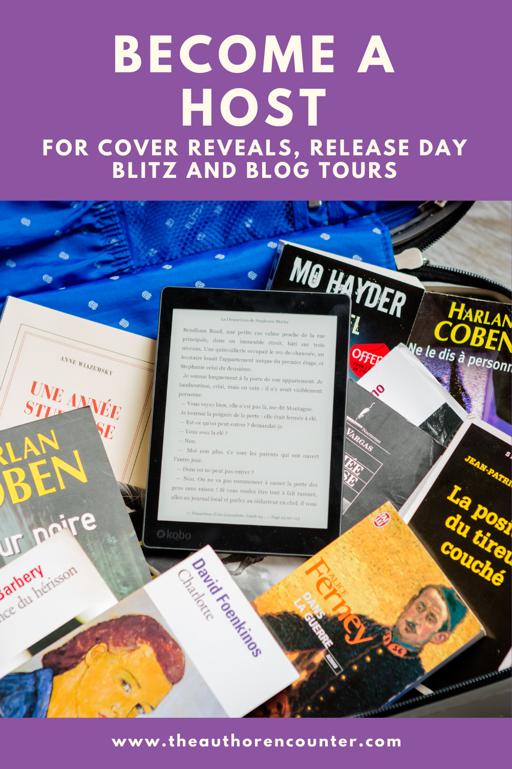 pinterest pin that reads Become a host for Cover reveals ,release day blitz and blog tours