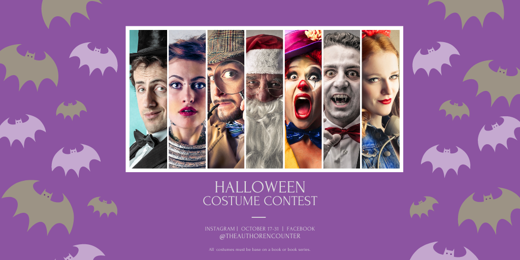 blog banner image with purple and green bats on the sides of people dressed in costume for a contest