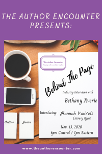 pinterest pin for Behind the page with Hannah VanVels