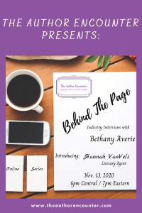 flyer for behind the Page a publishing interview series
