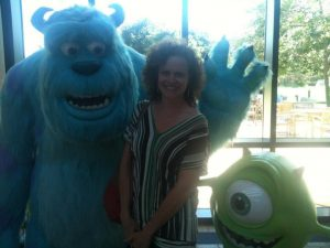 Picture of screenwriter Meg LaFauve with Monster Inc characters