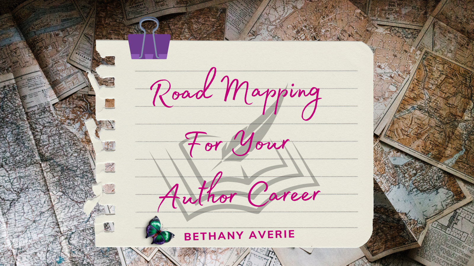 image of road maps with a note on top that reads Road Mapping For Your Author Career