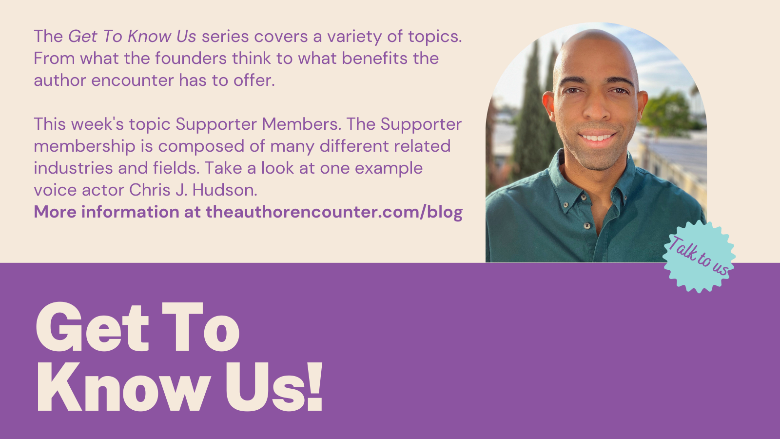 blog banner for the Get to know us series