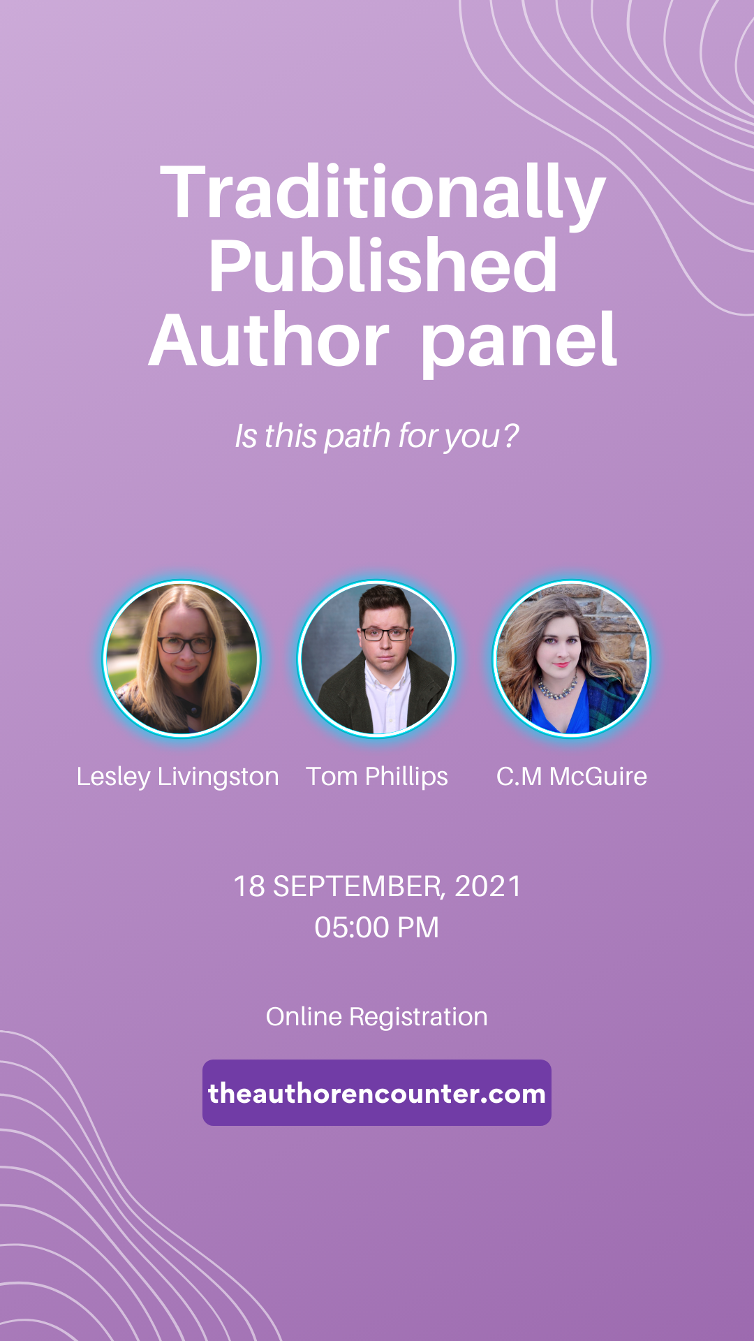 Pinterest pin of traditional published author panel